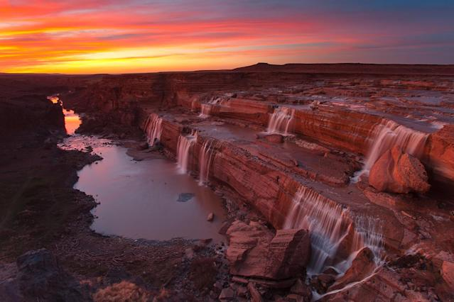 <p>Grand Falls on Little Colorado River at sunset in Flagstaff, Ariz. (Photo: Darren White Photography/Getty Images) </p>