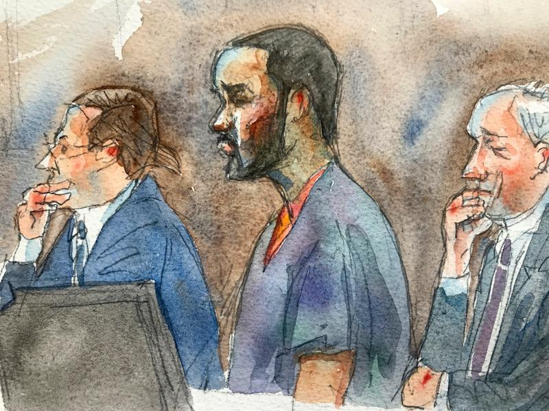 In courtroom sketch, R. Kelly, center, listens in federal court with his attorneys Doug Anton, left, and Steve Greenberg during his arraignment on sex-crime charges, Aug. 2, 2019 in New York.