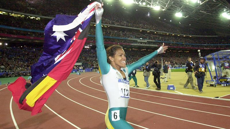 Cathy Freeman is pictured here celebrating at the Sydney Olympic Games in 2000.
