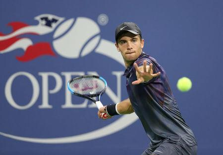 FILE PHOTO: Aug 30, 2017; New York, NY, USA; Borna Coric of Croatia returns a shot to Alexander Zverev of Germany on day three of the U.S. Open tennis tournament at USTA Billie Jean King National Tennis Center. Jerry Lai-USA TODAY Sports/File Photo
