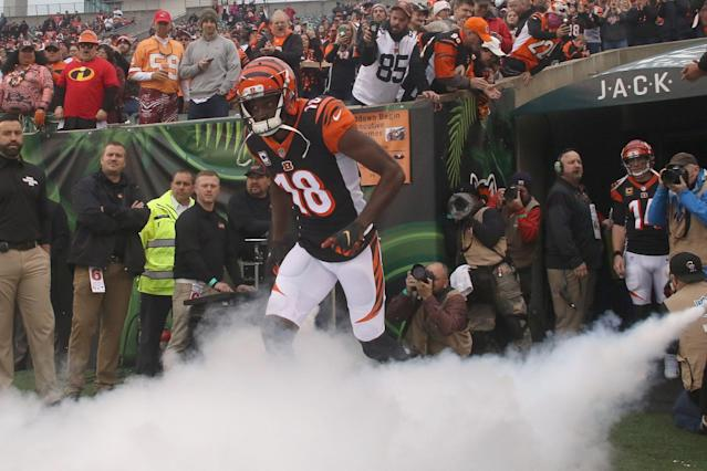 """<a class=""""link rapid-noclick-resp"""" href=""""/nfl/players/24791/"""" data-ylk=""""slk:A.J. Green"""">A.J. Green</a> is entering the final year of his contract with the <a class=""""link rapid-noclick-resp"""" href=""""/nfl/teams/cincinnati/"""" data-ylk=""""slk:Bengals"""">Bengals</a>. (Getty Images)"""
