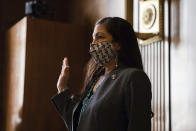 Rep. Deb Haaland, D-N.M., is sworn in during a Senate Committee on Energy and Natural Resources hearing on her nomination to be Interior Secretary, Tuesday, Feb. 23, 2021 on Capitol Hill in Washington. (Graeme Jennings/Pool via AP)