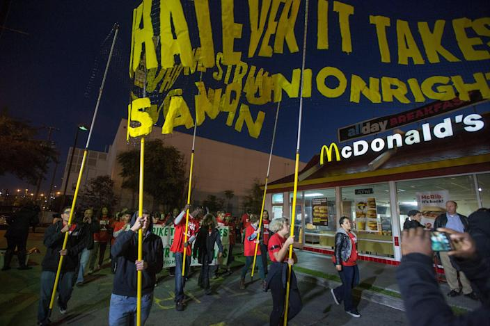 <p>McDonald's workers will join a Fight For $15 strike on 19 May.</p> (Getty Images)