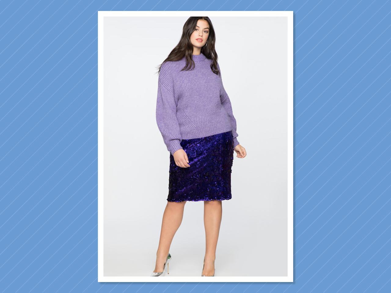 "<p>Purple on purple is a big trend this season, and my favorite pairing is a supercomfy oversized sweater with a contrasting glitzy skirt. (Photo: Eloquii)<br /><strong><a rel=""nofollow"" href=""https://fave.co/2DAE6Pj"">SHOP IT</a>:</strong> <a rel=""nofollow"" href=""https://fave.co/2PJt3e5"">Sweater</a>, $38 (was $75) and <a rel=""nofollow"" href=""https://fave.co/2DAE6Pj"">Skirt</a>, $50 (was $100), <a rel=""nofollow"" href=""https://fave.co/2DAE6Pj"">eloquii.com</a> </p>"
