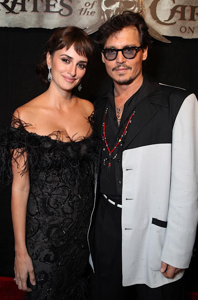 """<a href=""""http://movies.yahoo.com/movie/contributor/1800019548"""">Penelope Cruz</a> and <a href=""""http://movies.yahoo.com/movie/contributor/1800019485"""">Johnny Depp</a> attend the Disneyland premiere of <a href=""""http://movies.yahoo.com/movie/1809791042/info"""">Pirates of the Caribbean: On Stranger Tides</a> on May 7, 2011."""