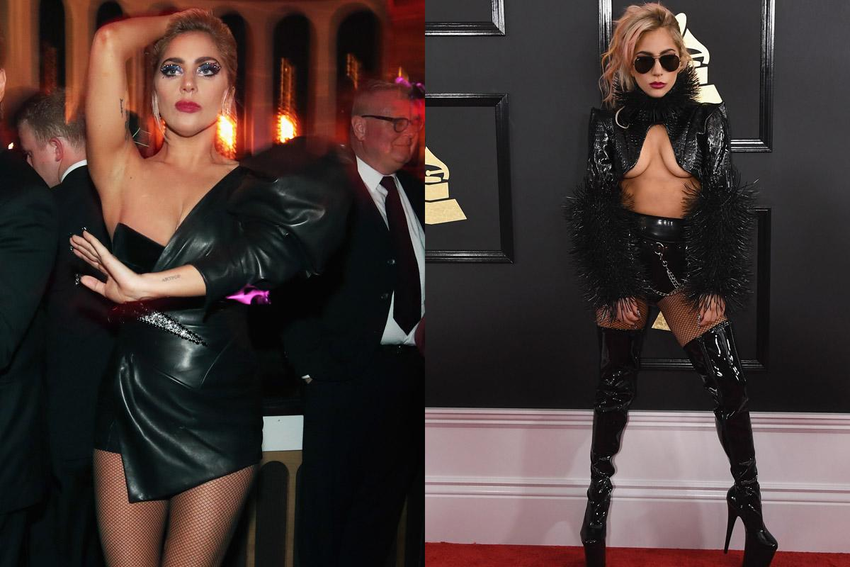 <p>The pop star donned two incredibly risqué looks at the 59th Annual Grammy Awards. She first stepped out in a textured black Alex Ulichny turtleneck with extremely revealing crop-top silhouette, pairing the top with hot pants and leather over-the-knee boots. She later changed into a black leather one-shoulder minidress from designer Alexandre Vauthier's spring 2017 couture collection for Interscope's Grammy after-party. (Photos: Getty Images) </p>