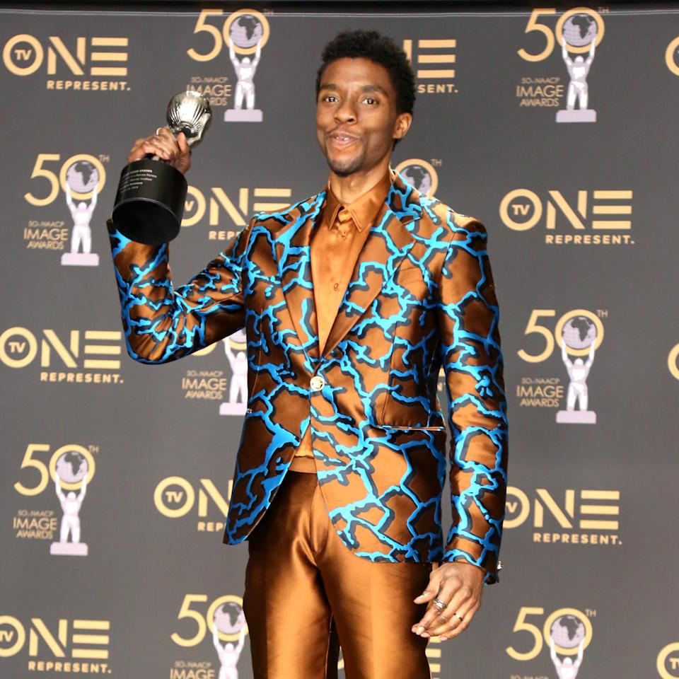 Chadwick Boseman, winner of Outstanding Actor in a Motion Picture for 'Black Panther,' attends the 50th NAACP Image Awards at Dolby Theatre on March 30, 2019 in Hollywood, California.