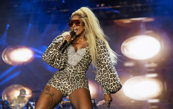 FILE - Mary J. Blige performs at the Essence Festival on July 6, 2019, in New Orleans. Blige made this year's list of nominees to the Rock and Roll Hall of Fame. The class of 2021 will be announced in May. (Photo by Amy Harris/Invision/AP, File)