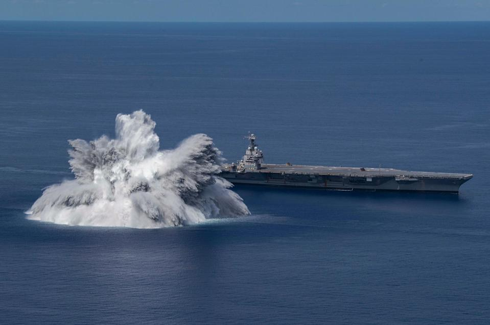 A navy statement Sunday said the 40,000-pound (18,143-kilo) explosion was triggered as part of work to evaluate the aircraft carrier, USS Gerald R. Ford's battle readiness (US NAVY/AFP via Getty Images)