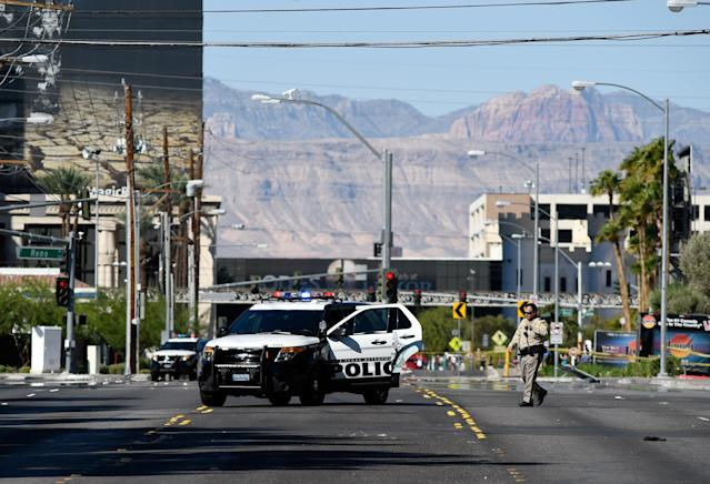 Las Vegas police investigate a side street near the Las Vegas Village after a gunman opened fire on the Route 91 Harvest country music festival. (Photo: David Becker/Getty Images)