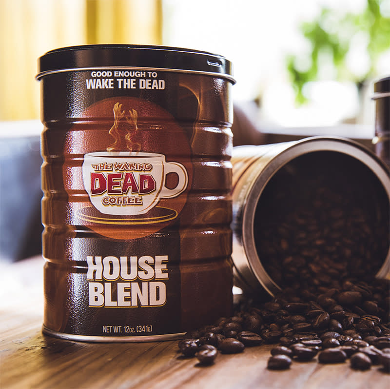 "<p>The can claims it's 'good enough to wake the dead,' and while we can't vouch for the literal veracity of that statement, we can say that one whiff of <a rel=""nofollow"" href=""https://www.thewoodburyshoppe.net/cgi-bin/commerce.cgi?preadd=action&key=1892"">this delicious java</a> percolating through the house in the morning is just the thing to awaken you from your non-apocalyptic slumber. The beverage, served in The Waking Dead Cafe; in Senoia, Georgia, where <i>TWD</i> is filmed, is packaged in a nifty can that makes a fine collectible/doodad catcher itself.<br />(Photo: thewoodburyshoppe.net) </p>"
