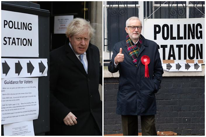 Boris Johnson and then-Labour leader Jeremy Corbyn outside their local polling stations on the day of the 2019 general election: the last major poll to have been held in the UK. (PA/Getty Images)
