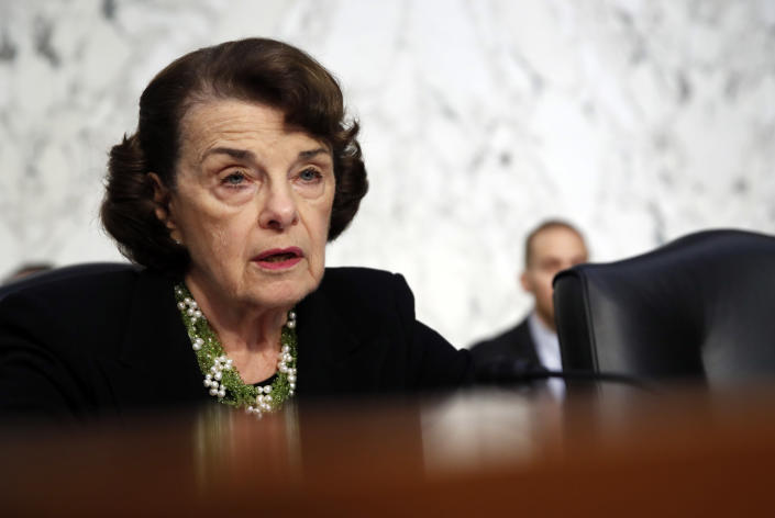 Sen. Dianne Feinstein, D-Calif., the ranking member on the Senate Judiciary Committee, speaks as Brett Kavanaugh testifies before the committee on the third day of his confirmation hearing. (Photo: Alex Brandon/AP)