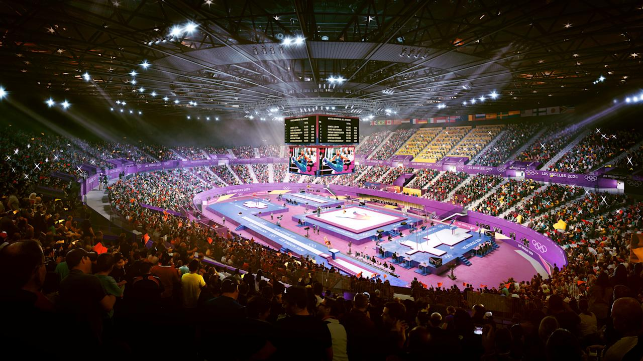 A Los Angeles' Olympic bid committee rendering shows how gymnastics at the Forum would look like after receiving an Olympics-style makeover in this image released in Los Angeles, California, U.S. on May 8, 2017.  Courtesy LA 2024/Handout via REUTERS ATTENTION EDITORS - THIS IMAGE WAS PROVIDED BY A THIRD PARTY. EDITORIAL USE ONLY.