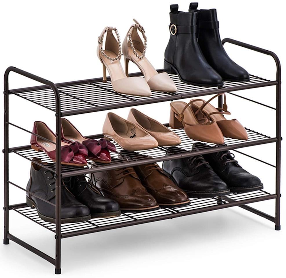 """<p>This functional <a href=""""https://www.popsugar.com/buy/Bextsware-3-Tier-Shoe-Rack-541774?p_name=Bextsware%203-Tier%20Shoe%20Rack&retailer=amazon.com&pid=541774&price=22&evar1=casa%3Auk&evar9=47128586&evar98=https%3A%2F%2Fwww.popsugar.com%2Fhome%2Fphoto-gallery%2F47128586%2Fimage%2F47128636%2FBextsware-3-Tier-Shoe-Rack&list1=shopping%2Corganization%2Cclosets%2Chome%20organization%2Chome%20shopping&prop13=api&pdata=1"""" rel=""""nofollow"""" data-shoppable-link=""""1"""" target=""""_blank"""" class=""""ga-track"""" data-ga-category=""""Related"""" data-ga-label=""""https://www.amazon.com/Bextsware-Stackable-Adjustable-Multi-Function-Organizer/dp/B07RDK2YDF/ref=sr_1_35?crid=2KL6S3IAPH4CT&amp;keywords=organizer+for+small+closet&amp;qid=1579612983&amp;sprefix=organizer+for+small+%2Caps%2C189&amp;sr=8-35"""" data-ga-action=""""In-Line Links"""">Bextsware 3-Tier Shoe Rack</a> ($22, originally $36) is easy to put anywhere and use several different ways.</p>"""
