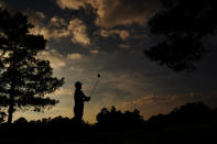 Sungjae Im, of South Korea, watches his drive on the 18th hole during the third round of the Masters golf tournament Saturday, Nov. 14, 2020, in Augusta, Ga. (AP Photo/Matt Slocum)