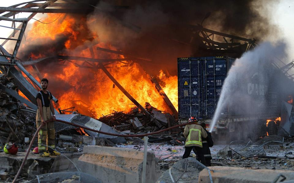 Fire crews struggled to contain the blaze after the explosions - GETTY IMAGES