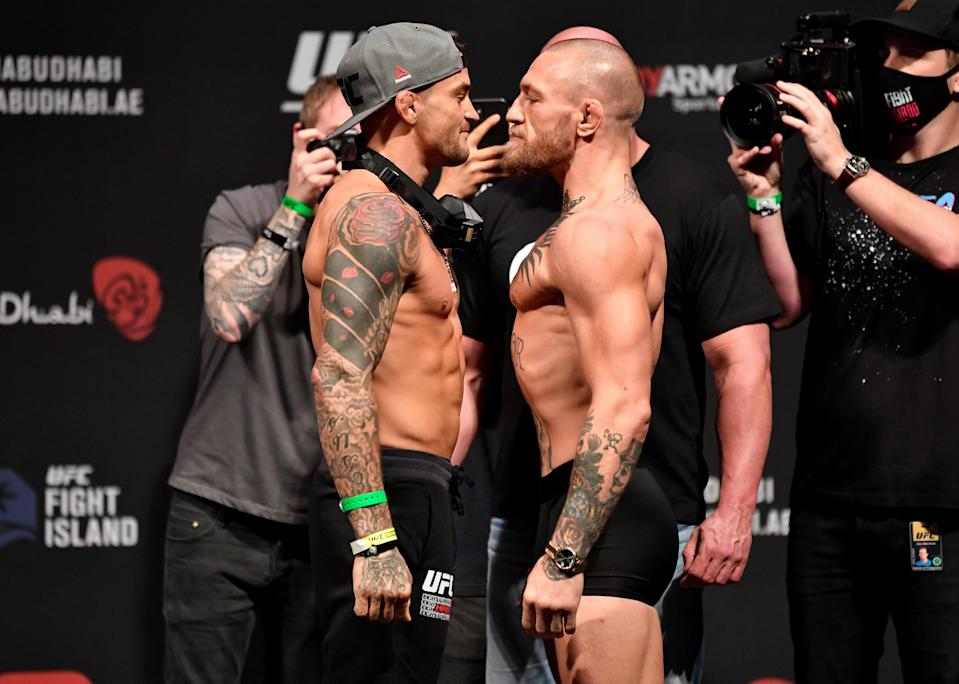 <p>Dustin Poirier and Conor McGregor were meant to face off in July</p> (USA TODAY Sports)