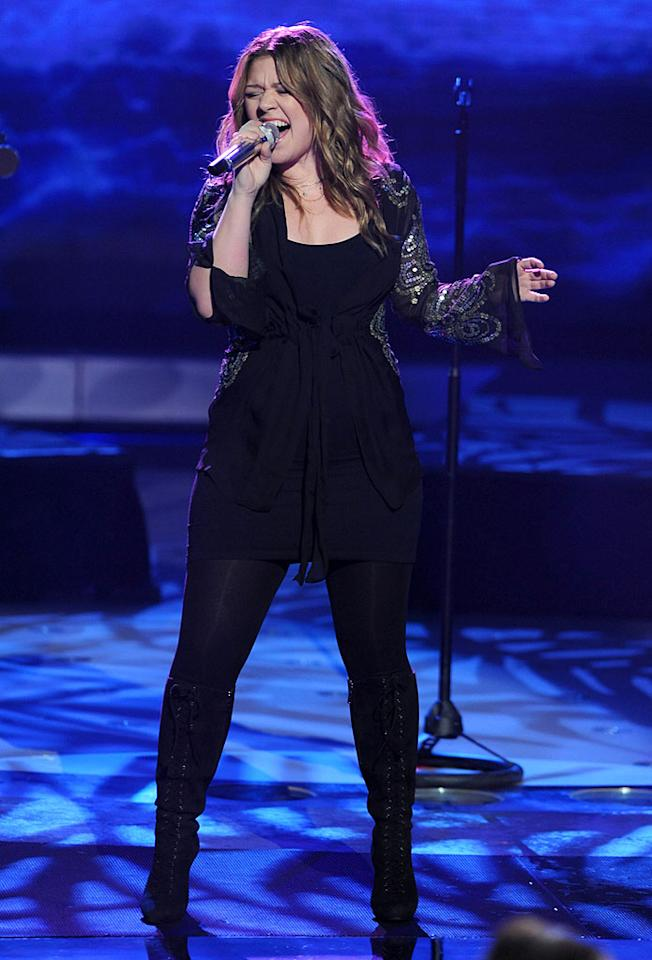 "Speaking of comebacks, Kelly Clarkson returned to the ""American Idol"" stage Wednesday night to perform her hit ""My Life Would Suck Without You."" Kelly's new album ""All I Ever Wanted"" went on sale the day before. Ray Mickshaw/<a href=""http://www.fox.com/"" target=""new"">FOX</a> - March 11, 2009"