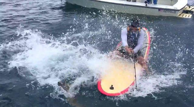 Captain Chancey and the grouper fight on. Photo: YouTube