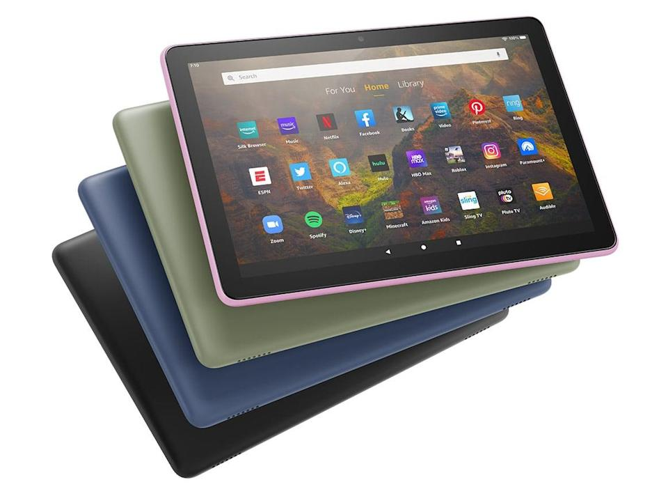 """<p>From entertainment to keeping in touch, the <span>Fire HD 10 tablet, 10.1"""", 1080p Full HD</span> ($150) has got you covered! Keep up with your favorite shows on Netflix, Prime Video, Hulu and more. Video chat with friends and create the coolest TikToks. You can even manage your smarthome all from this one device. </p>"""