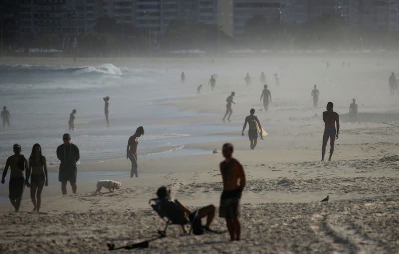 People enjoy in Copacabana beach during the coronavirus disease (COVID-19) outbreak, in Rio de Janeiro
