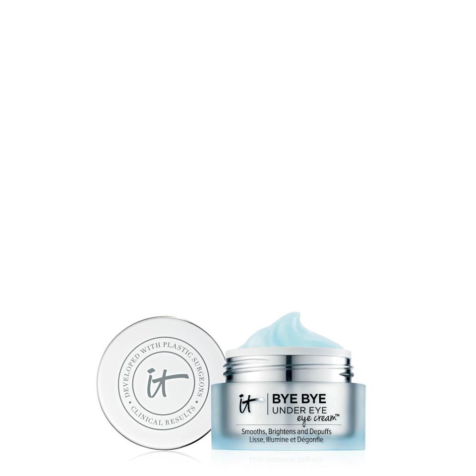 "<h3>It Cosmetics Bye Bye Under Eye Eye Cream<br></h3><br>This stuff is the best to use right before putting on concealer, as the cucumber- and hyaluronic acid-fueled formula is smooth enough to be a primer.<br><br><strong>It Cosmetics</strong> , $, available at <a href=""https://go.skimresources.com/?id=30283X879131&url=https%3A%2F%2Fwww.sephora.com%2Fproduct%2Fbye-bye-under-eye-eye-cream-smooths-brightens-depuffs-P411401"" rel=""nofollow noopener"" target=""_blank"" data-ylk=""slk:Sephora"" class=""link rapid-noclick-resp"">Sephora</a>"