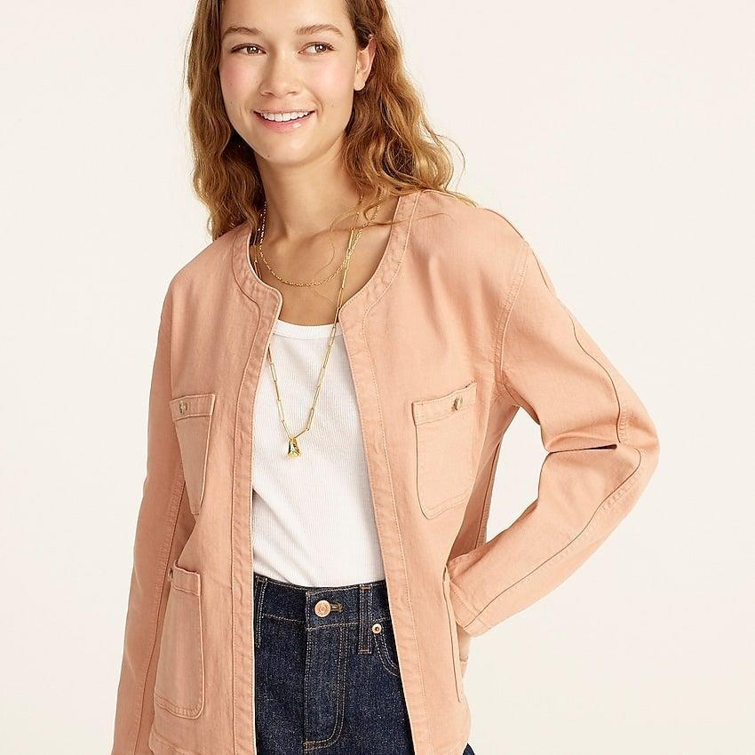 """<br><br><strong>J. Crew</strong> Simone relaxed garment-dyed jacket, $, available at <a href=""""https://go.skimresources.com/?id=30283X879131&url=https%3A%2F%2Fwww.jcrew.com%2Fp%2Fwomens%2Fcategories%2Fclothing%2Fcoats-and-jackets%2Fdenim-jacket%2Fsimone-relaxed-garment-dyed-jacket%2FBA158%3Fdisplay%3Dsale%26fit%3DClassic%26isFromSale%3Dtrue%26color_name%3Divory%26colorProductCode%3DBA158"""" rel=""""nofollow noopener"""" target=""""_blank"""" data-ylk=""""slk:J. Crew"""" class=""""link rapid-noclick-resp"""">J. Crew</a>"""