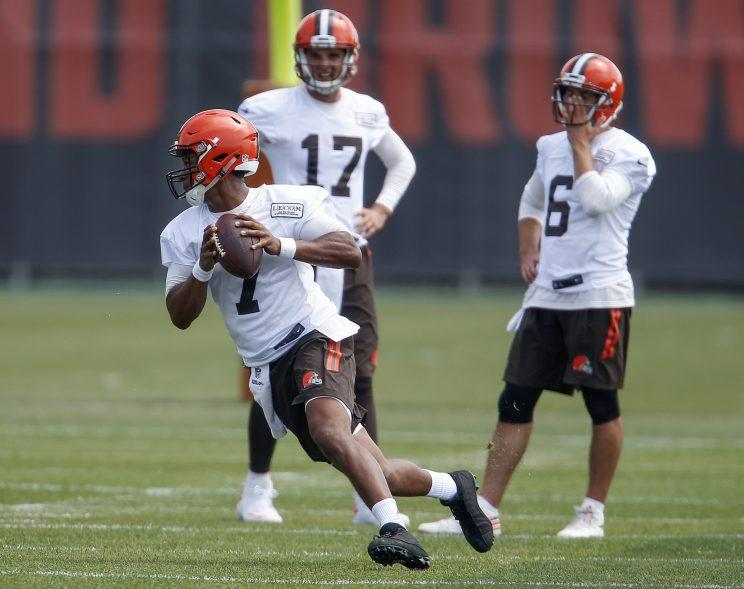 DeShone Kizer (7), Brock Osweiler (17) and Cody Kessler (6) will battle for the Browns' starting QB job. (AP)