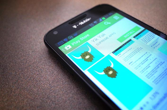 The Yik Yak page in the Google Play Store on a mobile phone