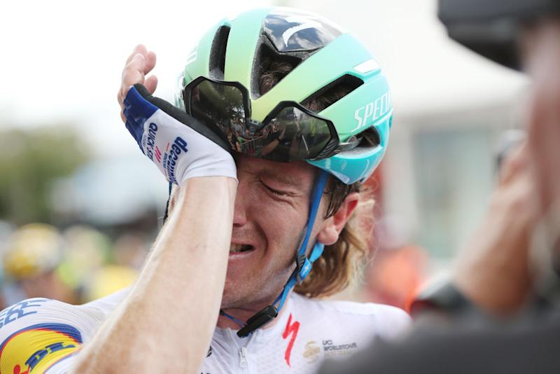It begins to sink in for Deceuninck-QuickStep's Shane Archbold that he's just become the 2020 New Zealand road race champion