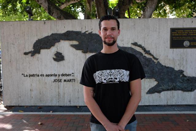 Andy Vila, a Sanders supporter who emigrated from Cuba in 2004, stands in front of a monument to Cuban poet José Martí in the Little Havana neighborhood of Miami. (Laura Ramirez/Yahoo News)