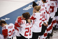 <p>Members of team Canada react after losing to the United States in the women's gold medal hockey game at the 2018 Winter Olympics in Gangneung, South Korea, Thursday, Feb. 22, 2018. (AP Photo/Jae C. Hong) </p>