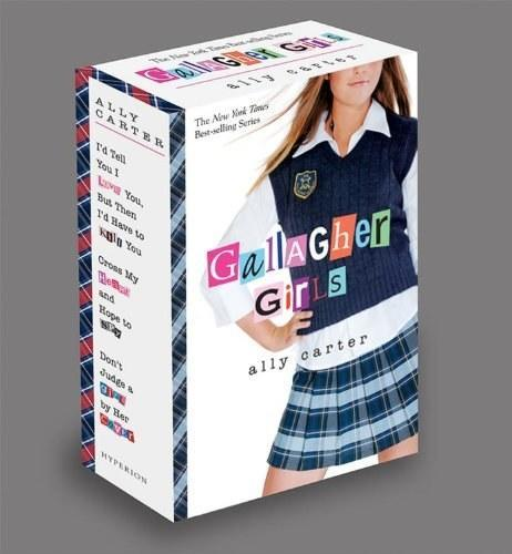 Box set of Gallagher Girls book series by Ally Carter. Features a girl in skirt school uniform
