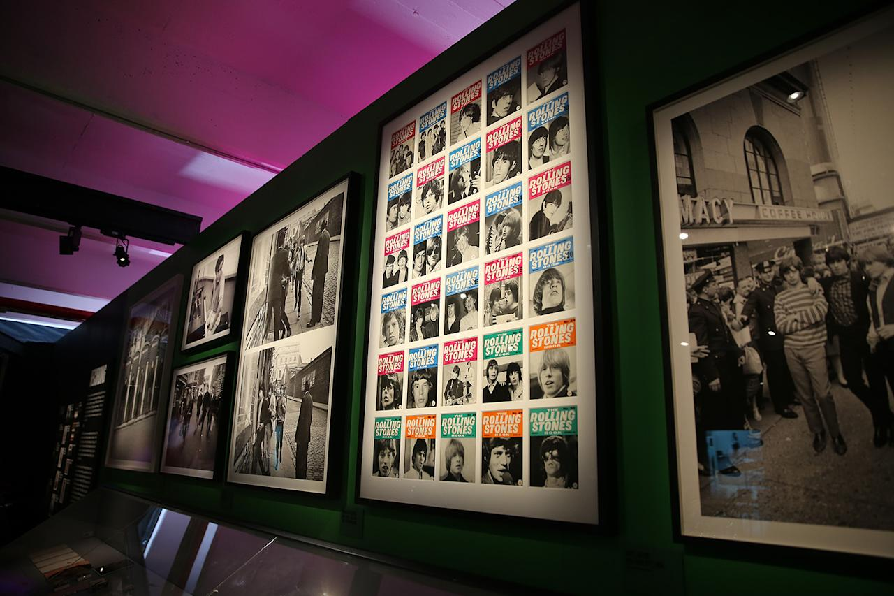 <p>Photos from the early days of the Rolling Stones along with covers from fan club publications in the Meet the Band gallery in the Rolling Stones' 'Exhibitionism.' (Gordon Donovan/Yahoo News) </p>