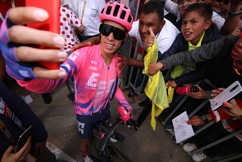 EF Pro Cycling's Rigoberto Uran garners plenty of attention from fans at the 2020 Tour Colombia 2.1