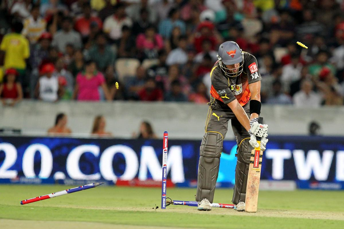 Camroon White's stumps uprooted by Manpreet Gony during match 25 of the Pepsi Indian Premier League between The Sunrisers Hyderabad and The Kings XI Punjab held at the Rajiv Gandhi International  Stadium, Hyderabad  on the 19th April, 2013. (BCCI)