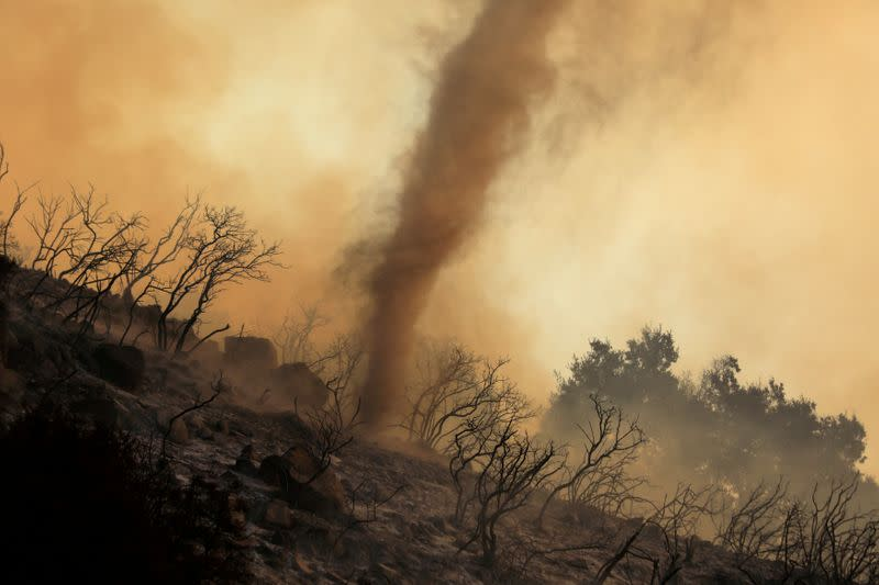 FILE PHOTO: A wildfire dubbed the Cave Fire burns in the hills of Santa Barbara, California,