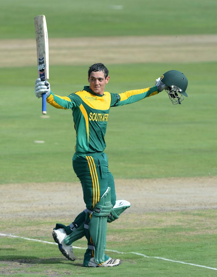 CENTURION, SOUTH AFRICA - DECEMBER 11: Quinton de Kock of South Africa celebrates his third consecutive century during the 3rd Momentum ODI match between South Africa and India at SuperSport Park on December 11, 2013 in Centurion, South Africa. (Photo by Duif du Toit/Gallo Images/Getty Images)