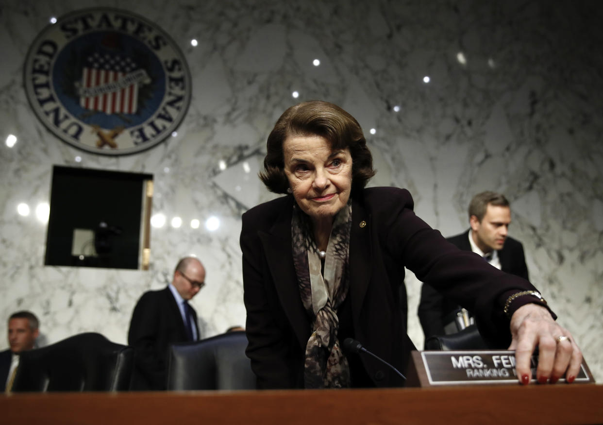Feinstein arrives for a Senate Judiciary Committee hearing in December 2017 on firearms regulation. (Photo: Carolyn Kaster/AP)