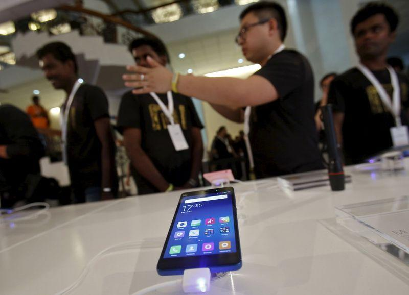 A Xiaomi's Mi 4i phone is kept on display at the venue during its launch in New Delhi