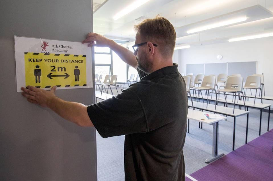 Social distancing measures at a Portsmouth school (PA)