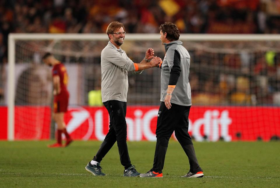 <p>Soccer Football – Champions League Semi Final Second Leg – AS Roma v Liverpool – Stadio Olimpico, Rome, Italy – May 2, 2018 Liverpool manager Juergen Klopp celebrates with assistant coach Peter Krawietz after the match Action Images via Reuters/John Sibley </p>