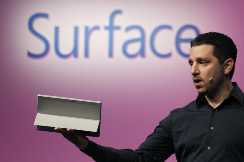 Panos Panay, corporate vice president of Microsoft, introduces a Surface 2 tablet with an integrated kickstand, Monday, Sept. 23, 2013 in New York. Microsoft says the Pro 2 also offers a 75 percent improvement in battery life over the previous model. (AP Photo/Mark Lennihan)