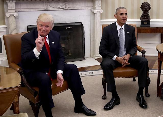 <p>President-elect Donald Trump (L) talks after a meeting with U.S. President Barack Obama (R) in the Oval Office November 10, 2016 in Washington, D.C.(Win McNamee/Getty Images) </p>