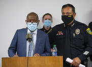 Mayor Sylvester Turner talks to reporters about the officer-involved fatal shooting of Nicolas Chavez, during a press conference at the Edward A. Thomas building on Thursday, Sept. 10, 2020, in Houston. (Godofredo A. Vásquez/Houston Chronicle via AP)