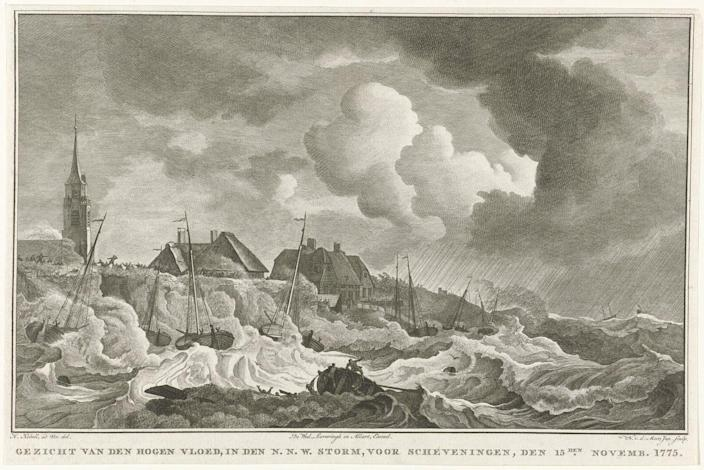 """<span class=""""caption"""">Disastrous storms, like one in 1775 in the Netherlands, were documented by engravers and other artists.</span> <span class=""""attribution""""><a class=""""link rapid-noclick-resp"""" href=""""https://www.rijksmuseum.nl/en/collection/RP-P-OB-84.965"""" rel=""""nofollow noopener"""" target=""""_blank"""" data-ylk=""""slk:Noach van der Meer II, after Hendrik Kobell"""">Noach van der Meer II, after Hendrik Kobell</a></span>"""
