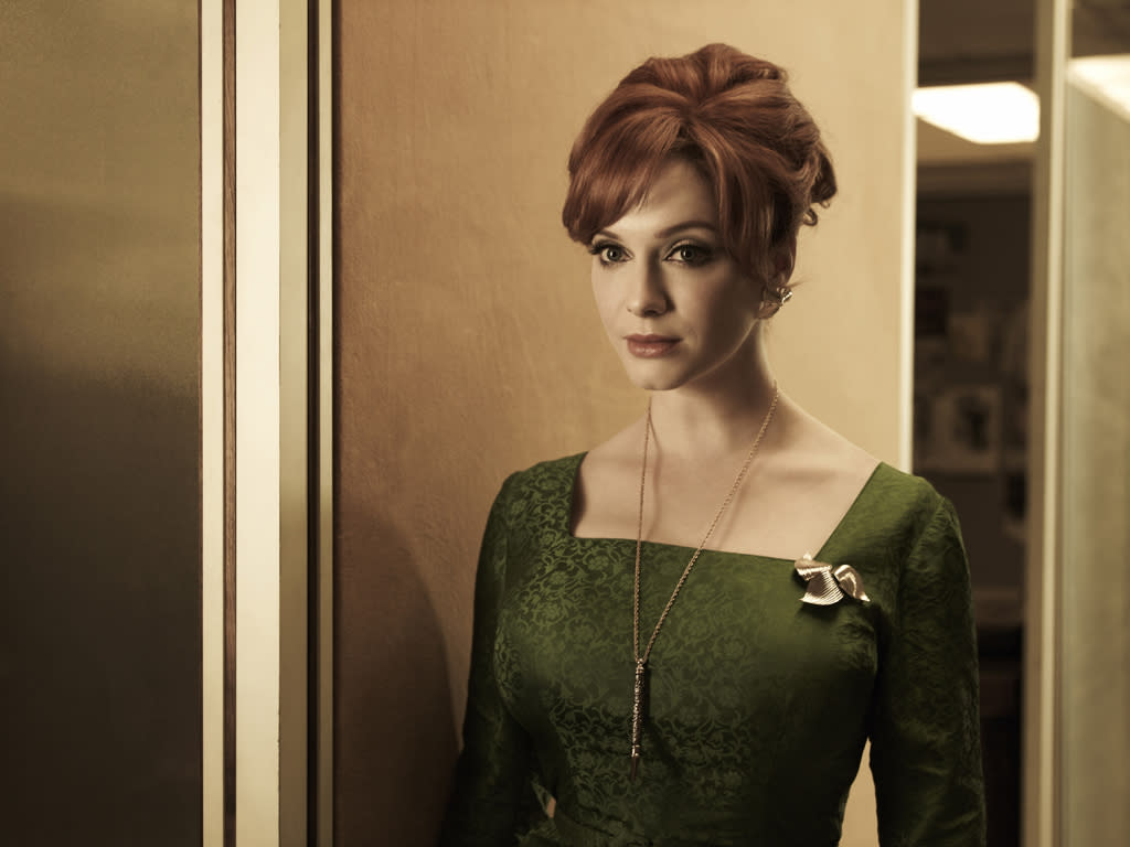 "Christina Hendricks as Joan Harris in ""<a target=""_blank"" href=""http://tv.yahoo.com/mad-men/show/39828"">Mad Men</a>."""
