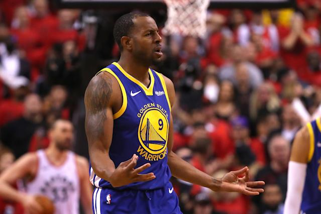 "<a class=""link rapid-noclick-resp"" href=""/nba/players/3826/"" data-ylk=""slk:Andre Iguodala"">Andre Iguodala</a> appears stuck with the rebuilding <a class=""link rapid-noclick-resp"" href=""/nba/teams/memphis/"" data-ylk=""slk:Grizzlies"">Grizzlies</a> whether he like it or not. (Getty)"