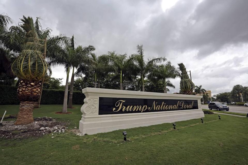 President Donald Trump reported $76 million in income from his Trump National Doral resort in 2018, up slightly from $75 million in 2017 but down considerably from 2016.